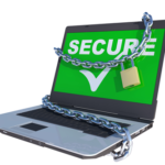 picture of a laptop with chains - secure