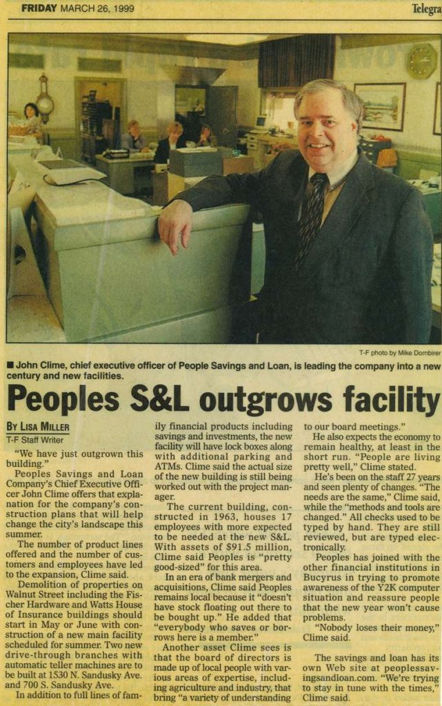 Article in paper about growing into new building 1999