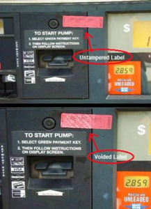 Gas pump tampered and not tampered picture.